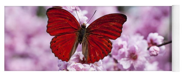 Red Butterfly On Plum  Blossom Branch Yoga Mat