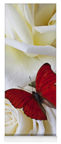 Red Butterfly On White Roses Yoga Mat