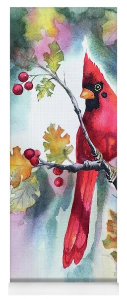 Red Cardinal With Berries Yoga Mat