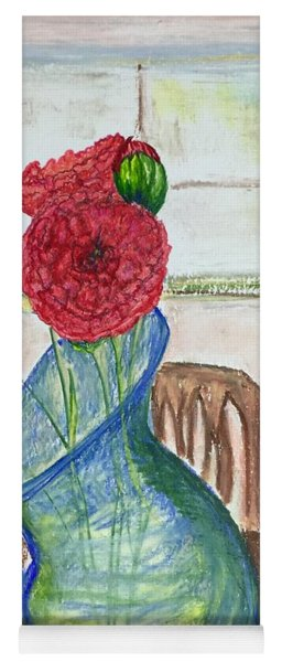 Yoga Mat featuring the mixed media Red Carnations by Norma Duch