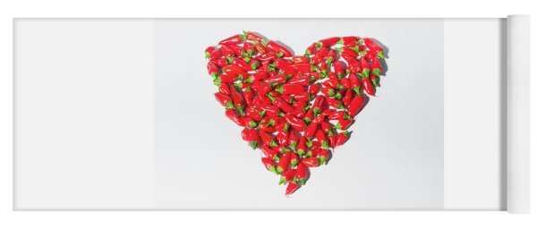 Red Chillie Heart II Yoga Mat