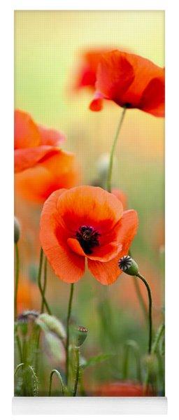 Red Corn Poppy Flowers 06 Yoga Mat