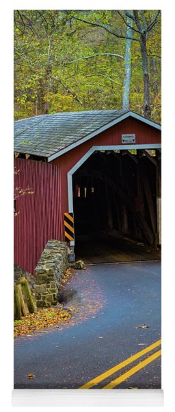 Red Covered Bridge In Lancaster County Park Yoga Mat