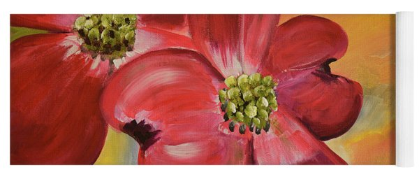 Yoga Mat featuring the painting Red Dogwood - Canvas Wine Art by Jan Dappen