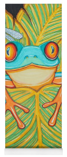 Red Eyed Tree Frog And Dragonfly Yoga Mat