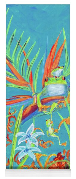 Red Eyed Tree Frogs On Birds Of Paradise Tropical Flowers Yoga Mat