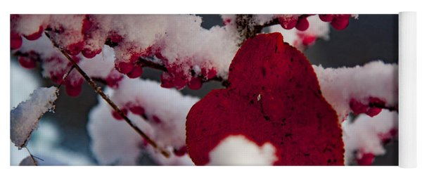 Red Fall Leaf On Snowy Red Berries Yoga Mat