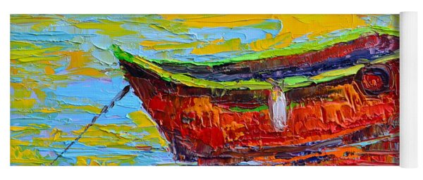 Red Fishing Boat At Sunset - Modern Impressionist Knife Palette Oil Painting Yoga Mat