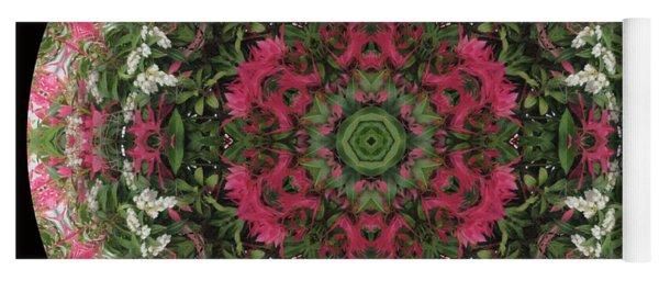 Red Flower Faces Kaleidoscope Yoga Mat