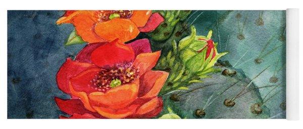 Red Flowering Prickly Pear Cactus Yoga Mat