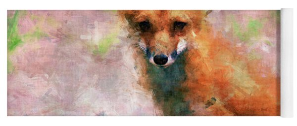 Yoga Mat featuring the digital art Red Fox  by Claire Bull