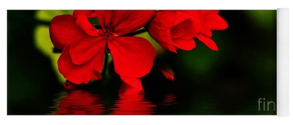 Red Geranium On Water Yoga Mat