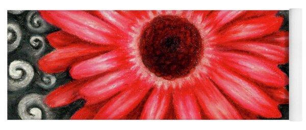 Red Gerbera Daisy Drawing Yoga Mat