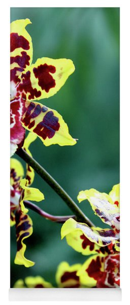 Striped Maroon And Yellow Orchid Yoga Mat