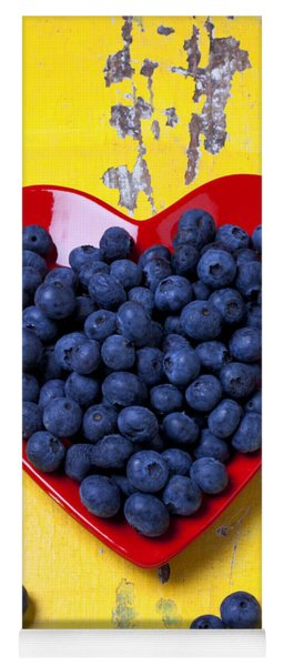 Red Heart Plate With Blueberries Yoga Mat