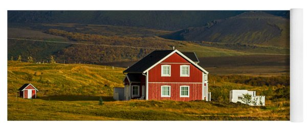 Red House And Horses - Iceland Yoga Mat