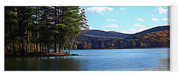 Red House Lake Allegany State Park In Autumn Expressionistic Effect Yoga Mat