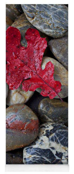 Red Leaf Wet Stones Yoga Mat