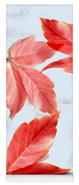 Red Leaves On Blue Texture Yoga Mat