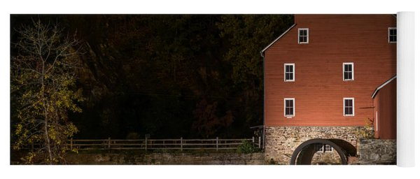 Red Mill At Night Clinton New Jersey Yoga Mat
