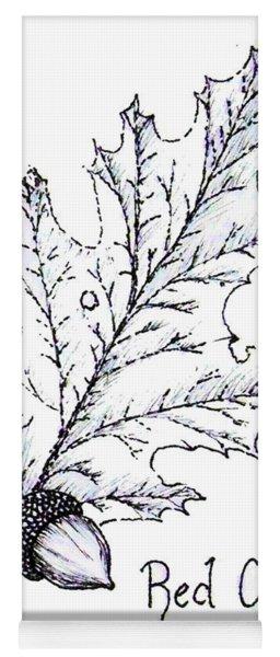 Red Oak Leaf And Acorn Yoga Mat