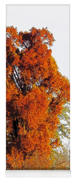 Red-orange Fall Tree Yoga Mat