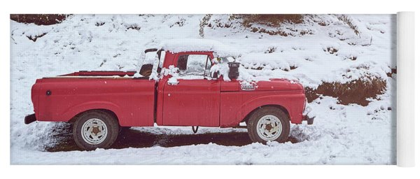 Yoga Mat featuring the photograph Red Pickup Truck On The Snow by Eduardo Jose Accorinti