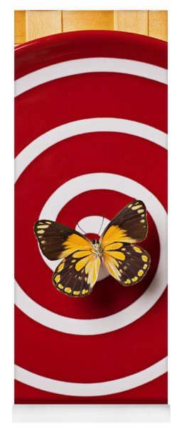 Red Plate And Yellow Black Butterfly Yoga Mat