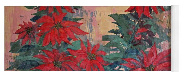 Red Poinsettias By George Wood Yoga Mat