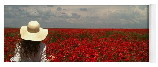Red Poppies And Lady Yoga Mat