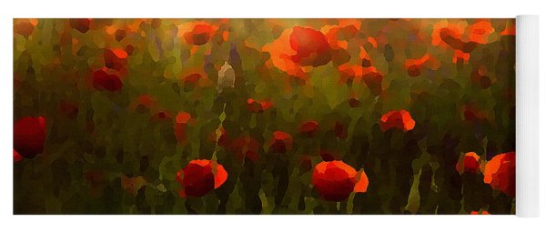 Red Poppies In The Sun Yoga Mat