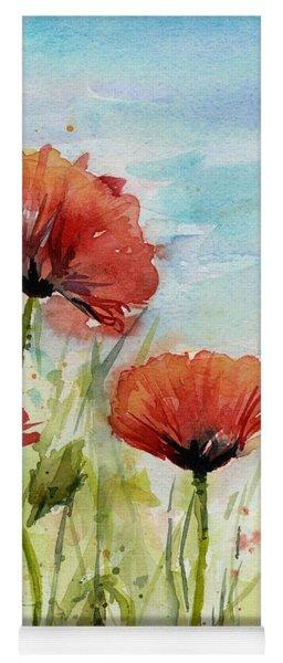 Red Poppies Watercolor Yoga Mat