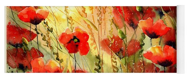 Red Poppies Watercolor Yoga Mat