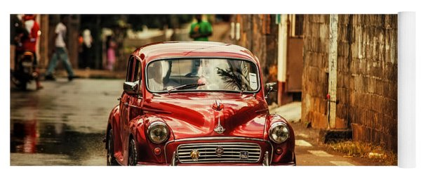 Red Retromobile. Morris Minor Yoga Mat