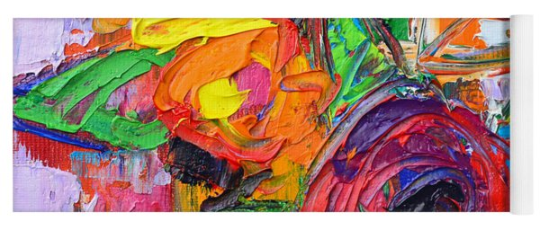 Red Rose And Wildflowers Abstract Modern Impressionist Palette Knife Oil Painting Ana Maria Edulescu Yoga Mat