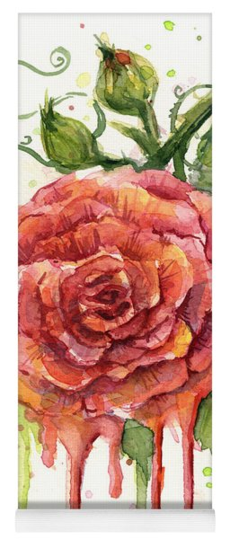 Red Rose Dripping Watercolor  Yoga Mat