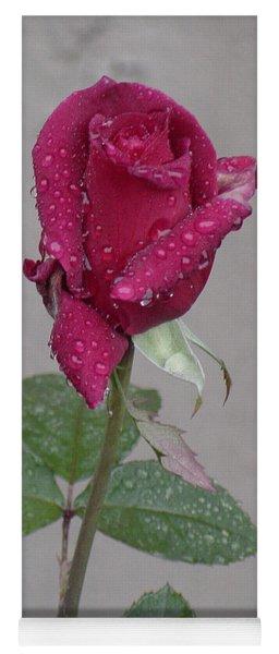Red Rose In Rain Yoga Mat