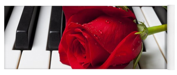 Red Rose On Piano Keys Yoga Mat