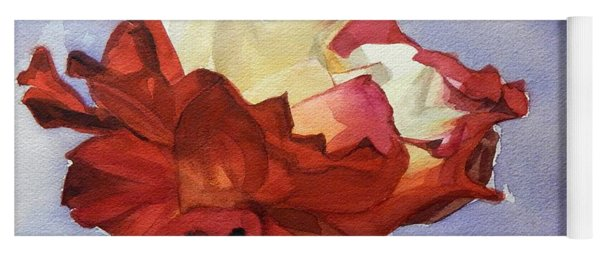 Watercolor Of A Red And White Rose On Blue Field Yoga Mat