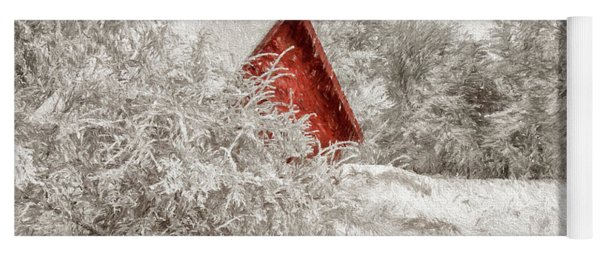 Red Shed In The Snow Yoga Mat