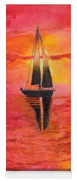 Red Sky At Night Sailors Delight Watercolor Yoga Mat
