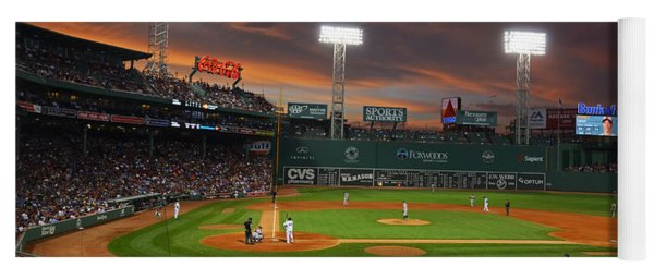 Red Sky Over Fenway Park Yoga Mat
