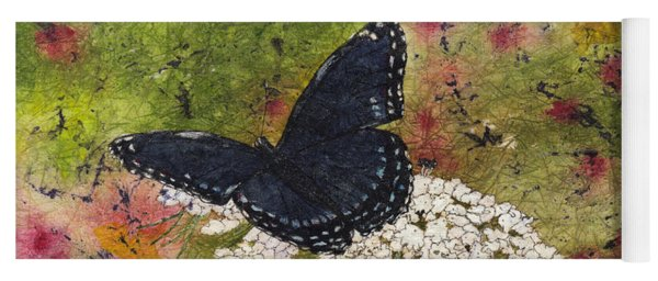 Red Spotted Purple Butterfly Queen Annes Lace Batik Yoga Mat