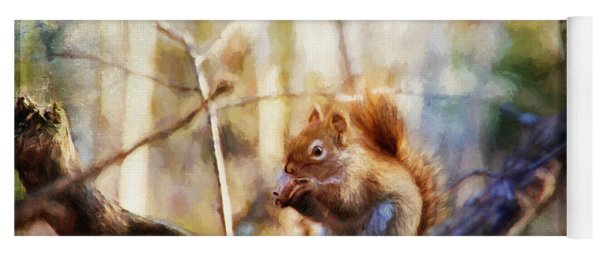 Red Squirrel With Pinecone Yoga Mat