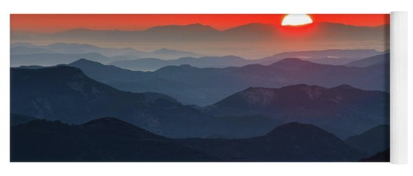 Red Sun In The End Of Mountain Range Yoga Mat