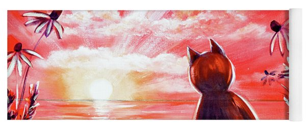 Red Sunset With A Cat Yoga Mat
