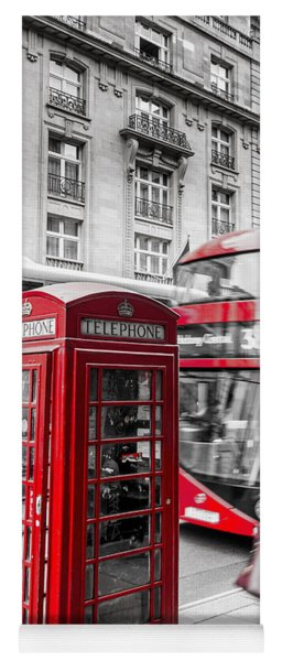 Red Telephone Box With Red Bus In London Yoga Mat