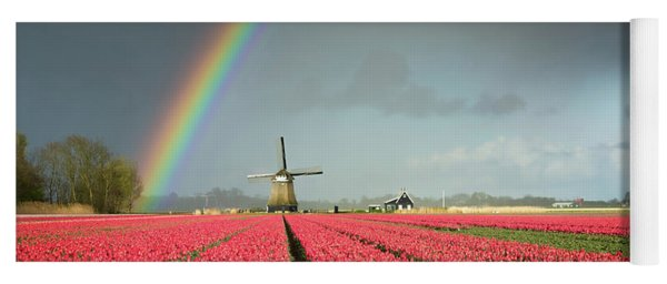 Red Tulips, A Windmill And A Rainbow Yoga Mat