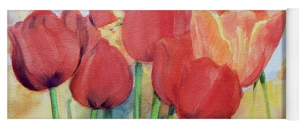 Watercolor Of Blooming Red Tulips In Spring Yoga Mat