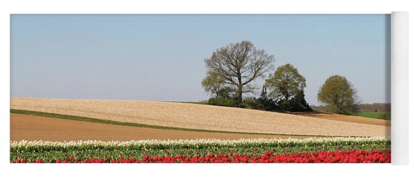 Red Tulips Landscape Yoga Mat